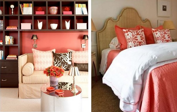 coral with neutrals