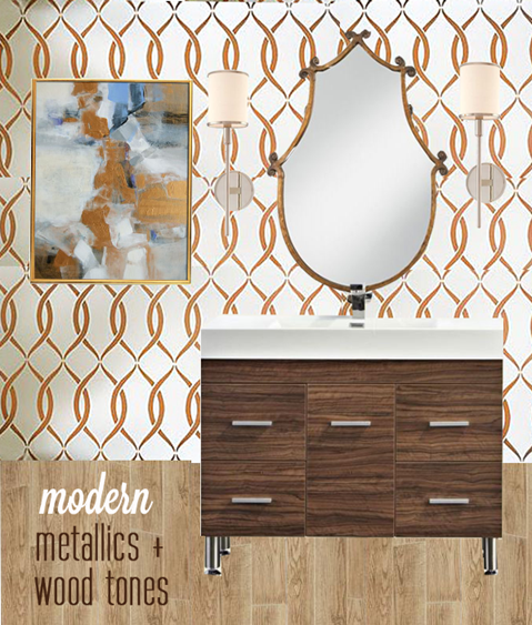 modern metallics and wood tones powder room