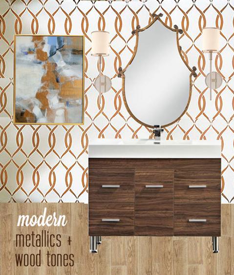 modern metallics and wood tones powder room