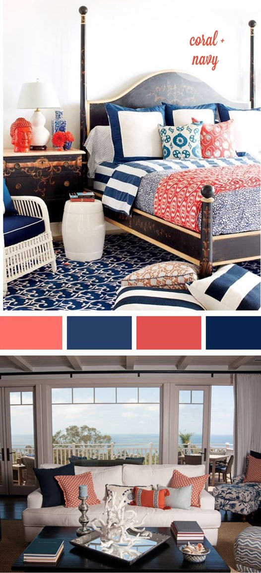 navy and coral palette
