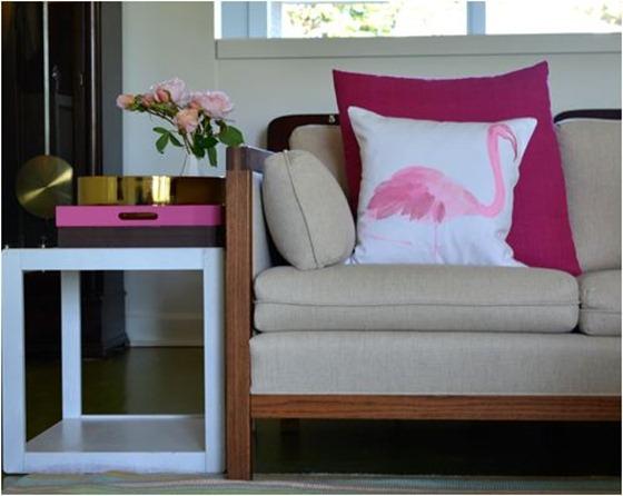pink stamped flamingo pillow alexandrahedin
