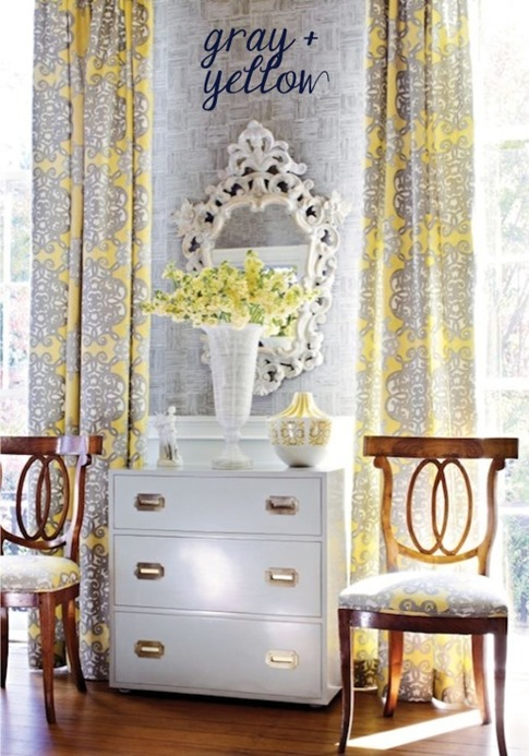 yellow and gray fabrics