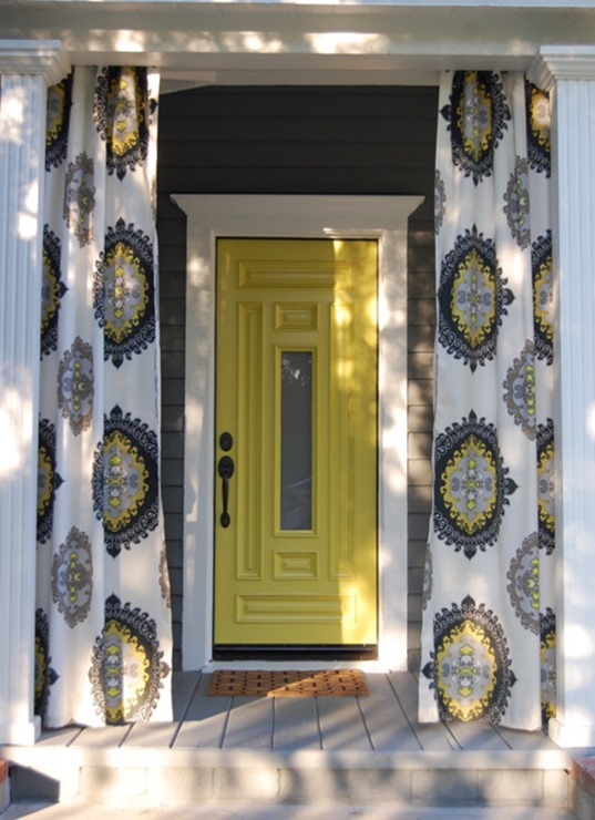 yellow and gray porch