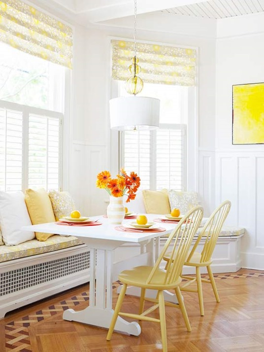 yellow chairs in breakfast nook bhg