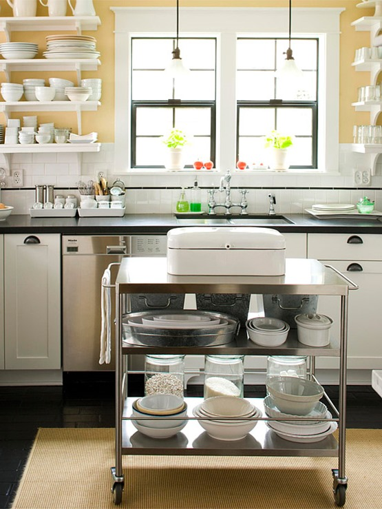 Yellow Kitchen Walls Inspiration With Small Rolling Kitchen Island Image