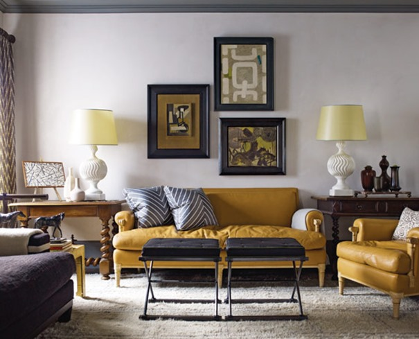 yellow leather sofas steven gambrel