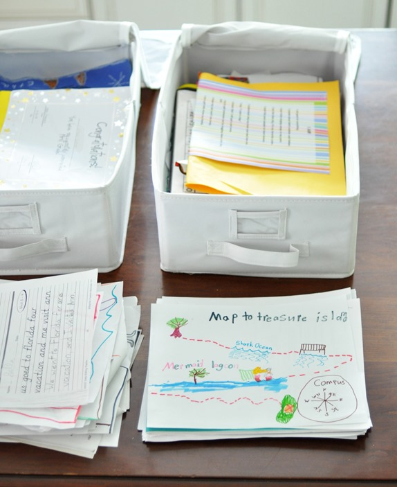 canvas bins for storing art and homework