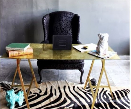 gold leaf sawhorse desk