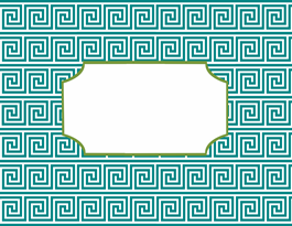 greek key teal and fern