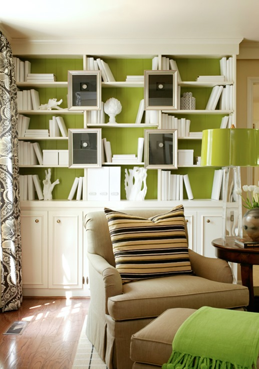 green painted backs to built in bookcases