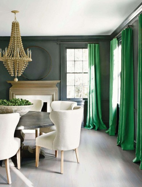 Kelly Green Curtains With Light Gray Grasscloth Walls: Kay Douglass Veranda Green Curtains