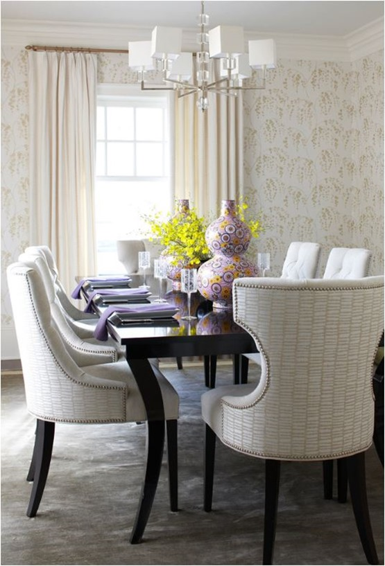 lavender and yellow in dining room