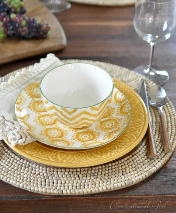 layered yellows in place setting