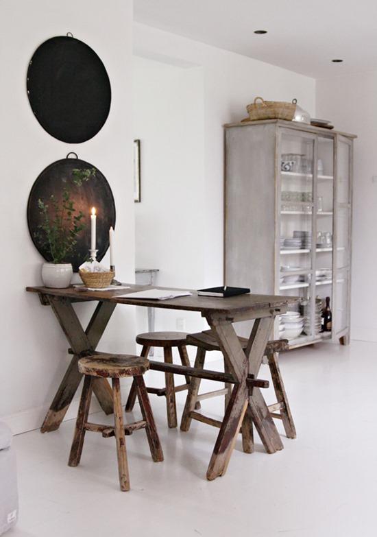 mixed gray patina and wood tones