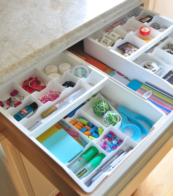 organized kitchen junk drawer