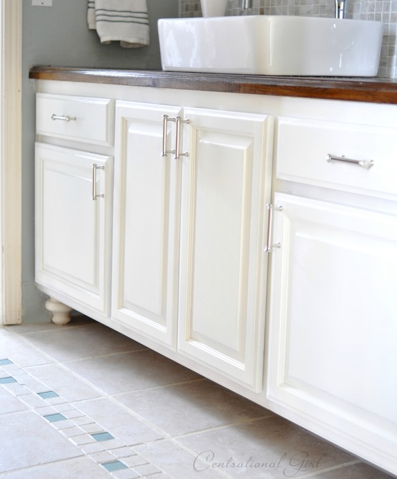 painting a bathroom cabinet painted bathroom cabinets centsational 24403