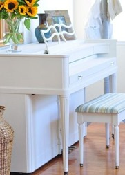 painted upright piano