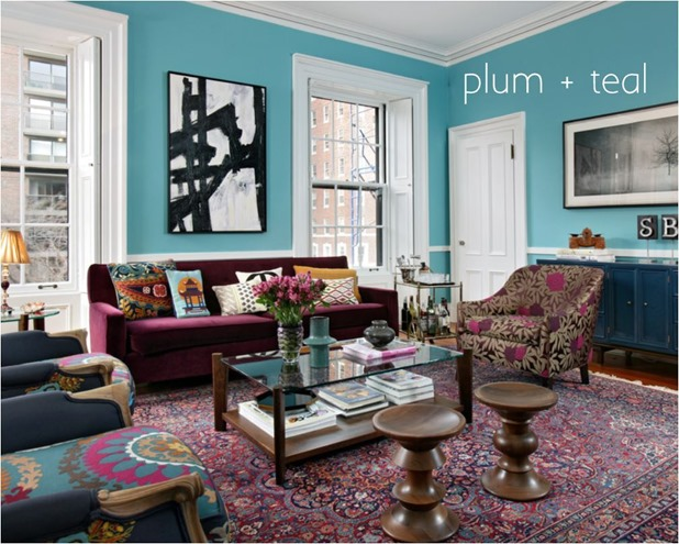 plum and teal colors together