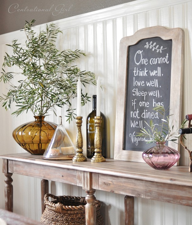 sideboard table with chalkboard