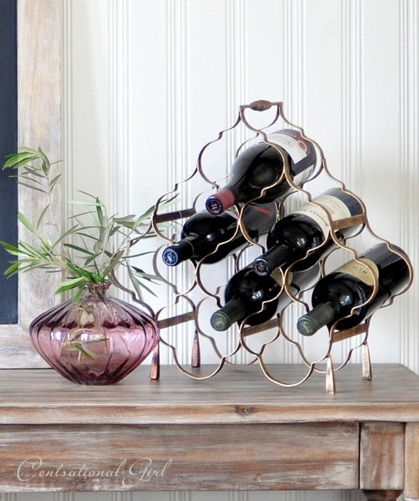 wine rack and amethyst vase