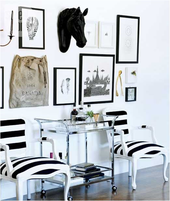 black and white striped chairs
