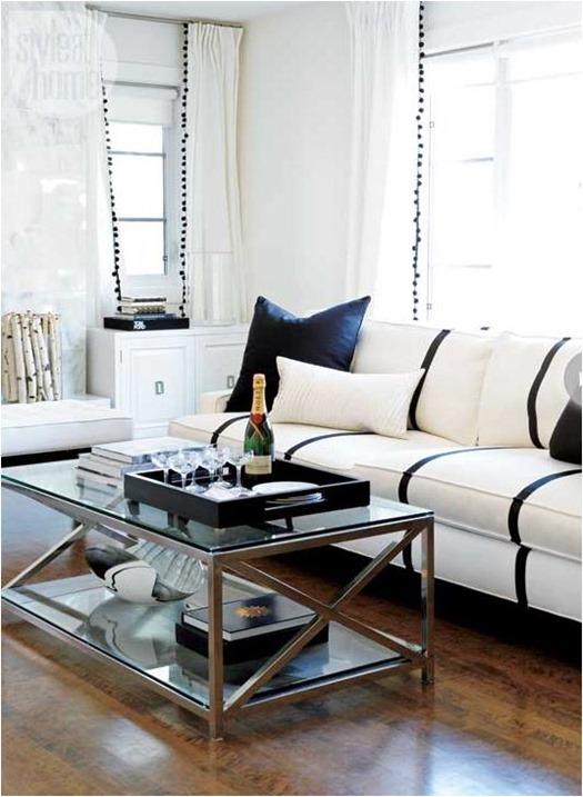 black and white stripes on sofa