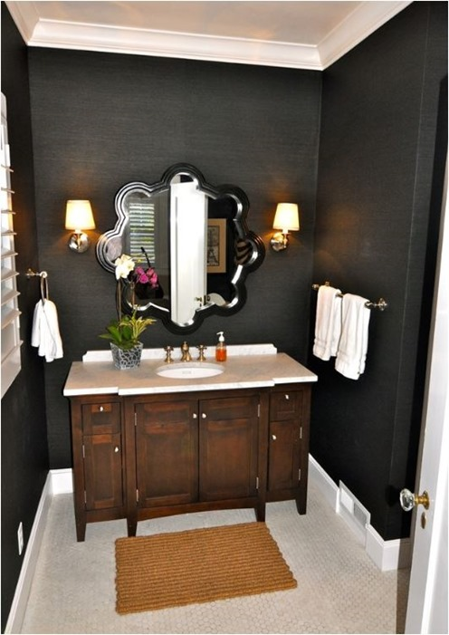 black grasscloth wallpaper in bathroom