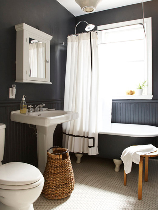 black walls in bathroom