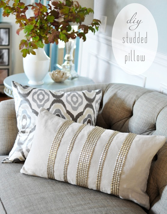 diy gold studded pillow