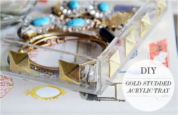 diy gold studded tray fabulousk