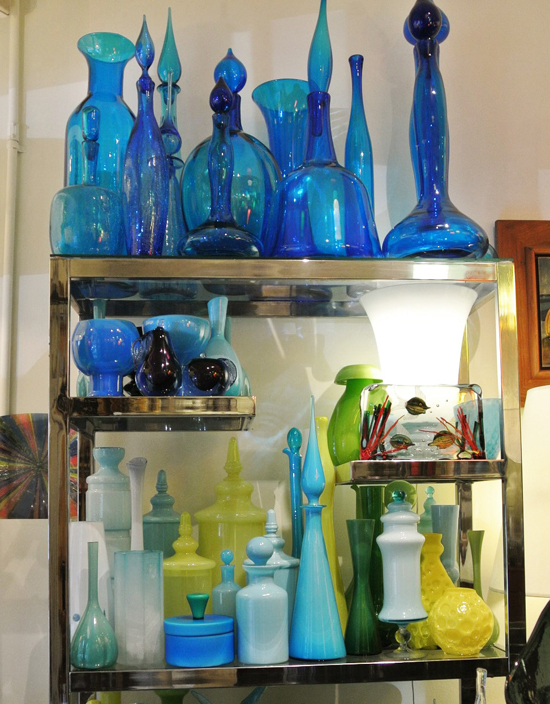 end of history vintage glass blues greens