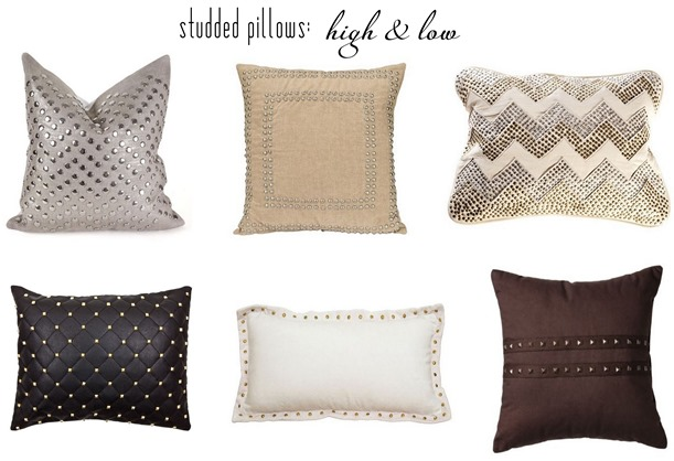 high and low studded pillows