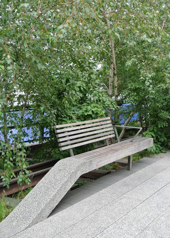 high line sloped park bench