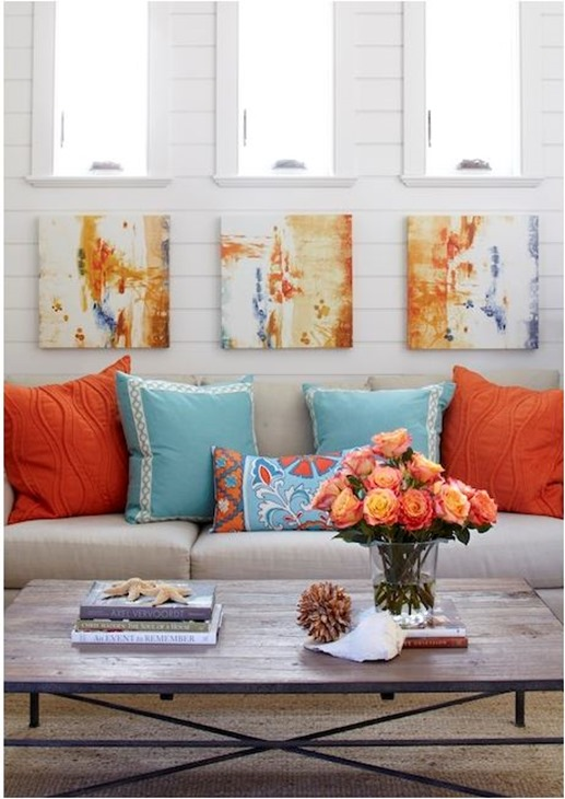 orange accent pillows tracery interiors