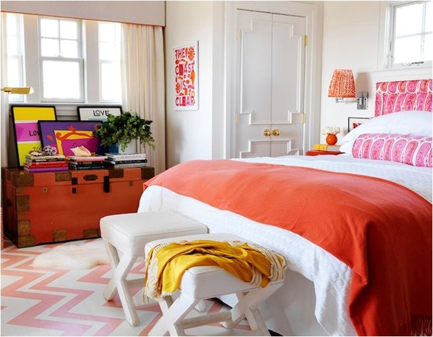 orange and pink bedroom mona ross berman