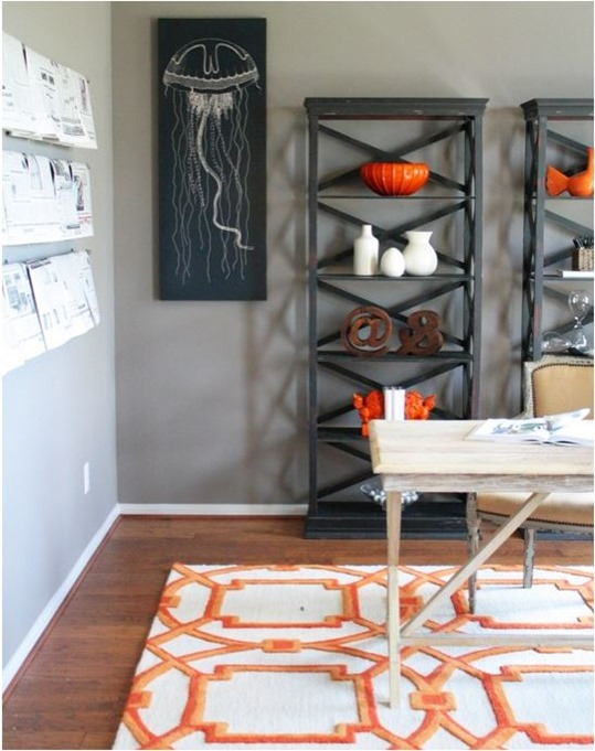 orange geo rug and accessories