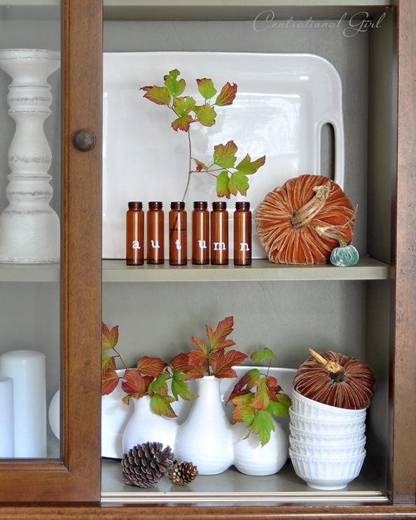 autumn bottles in hutch