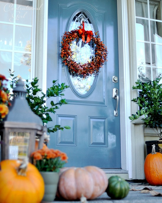 berry wreath blue door fall porch