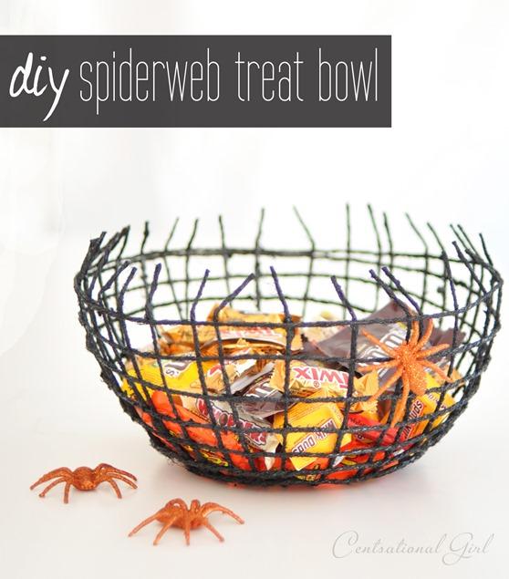 diy spiderweb halloween treat bowl