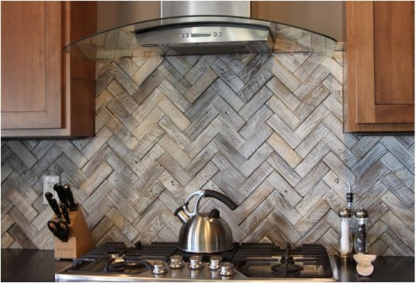 and erin reveal this beautiful herringbone wood tile backsplash