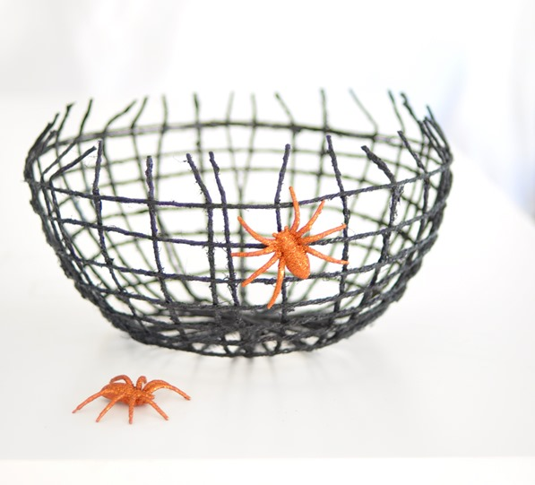 spray painted black twine bowl