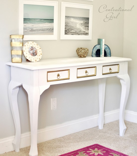 spray painted white console table. Spray Painting Furniture  Revisited    Centsational Style