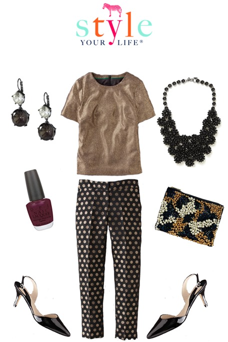 casual dressy black and gold holiday outfit