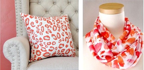 coral pillow and knit scarf