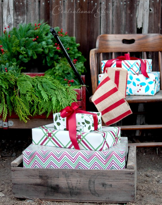 crate with gift wrapped presents