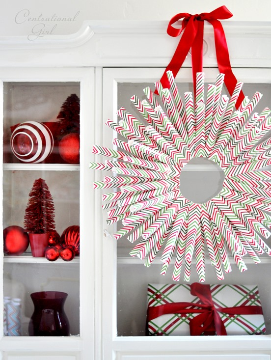 diy gift wrap wreath