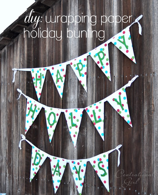 diy wrapping paper holiday bunting