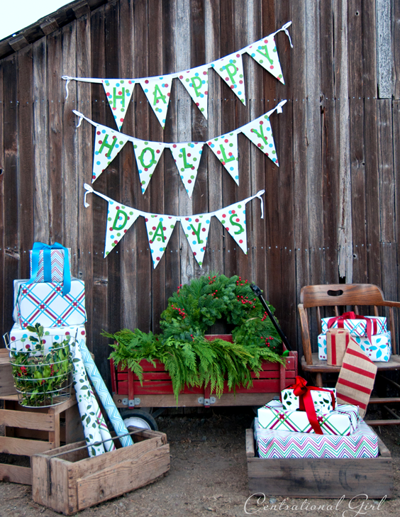 happy holly days bunting side of barn