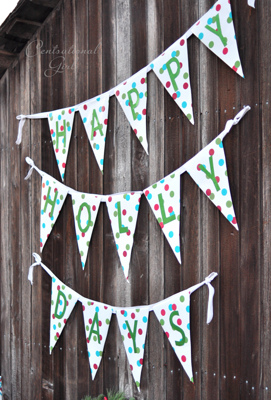 happy holly days wrapping paper bunting