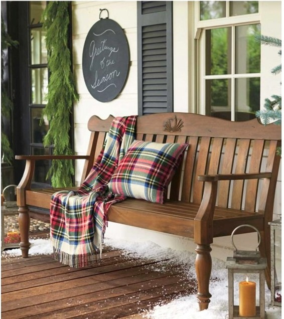 tartan throw on porch